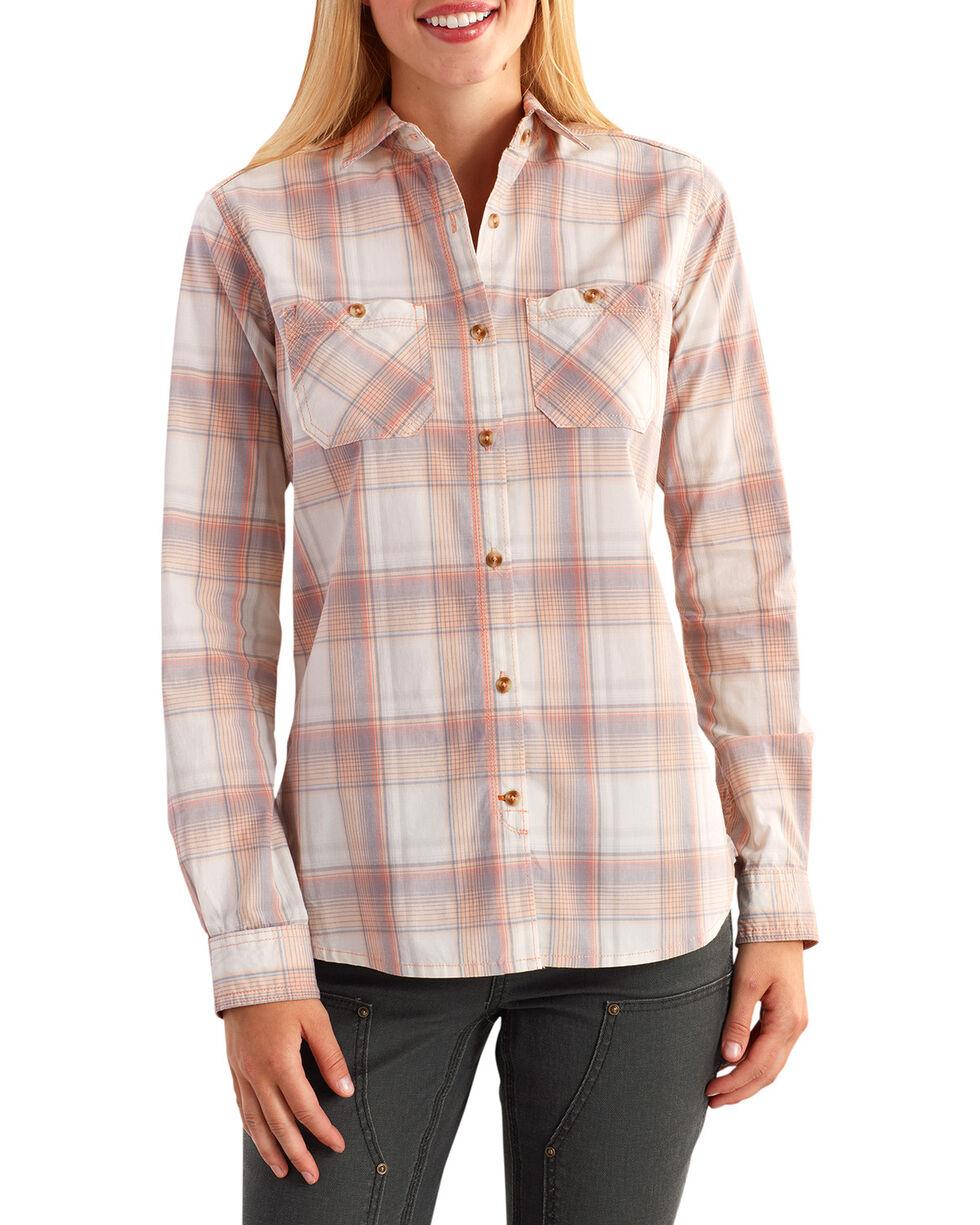 Carhartt Women's Huron Plaid Long Sleeve Shirt, Peach, hi-res