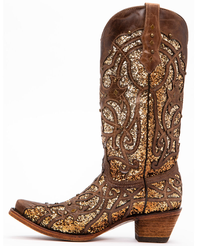 Corral Women's Golden Luminary Roots Western Boots - Snip Toe, Lt Brown, hi-res