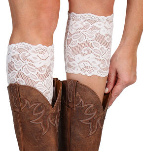 Shyanne Women's Cream Lace Stretch Boot Cuffs, Cream, hi-res