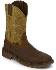 Justin Men's Cactus Western Work Boots - Steel Toe, Brown, hi-res