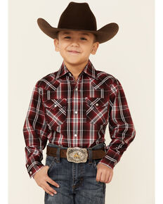 Ely Walker Boys' Red Plaid Long Sleeve Snap Western Shirt , Red, hi-res