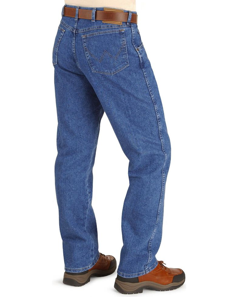 """Wrangler Jeans - Rugged Wear Relaxed Fit Stretch - Big 44"""" to 54"""" Waist, Stonewash, hi-res"""