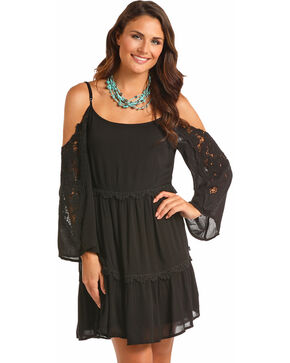 Rock & Roll Cowgirl Women's Black Cold Shoulder Lace Sleeves Dress, Black, hi-res
