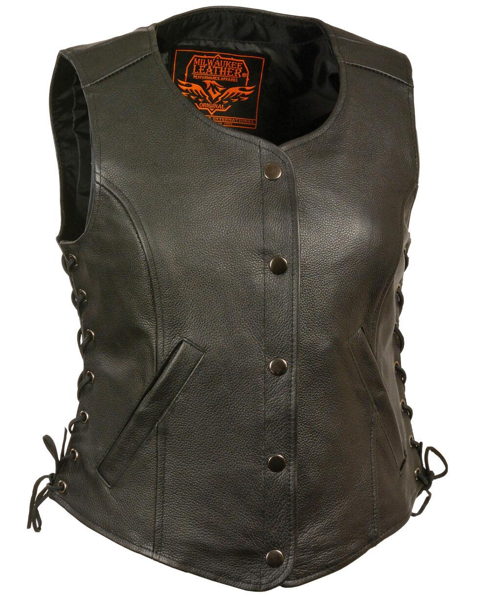 Milwaukee Leather Women's Side Lace Snap Front Vest - 4X, Black, hi-res