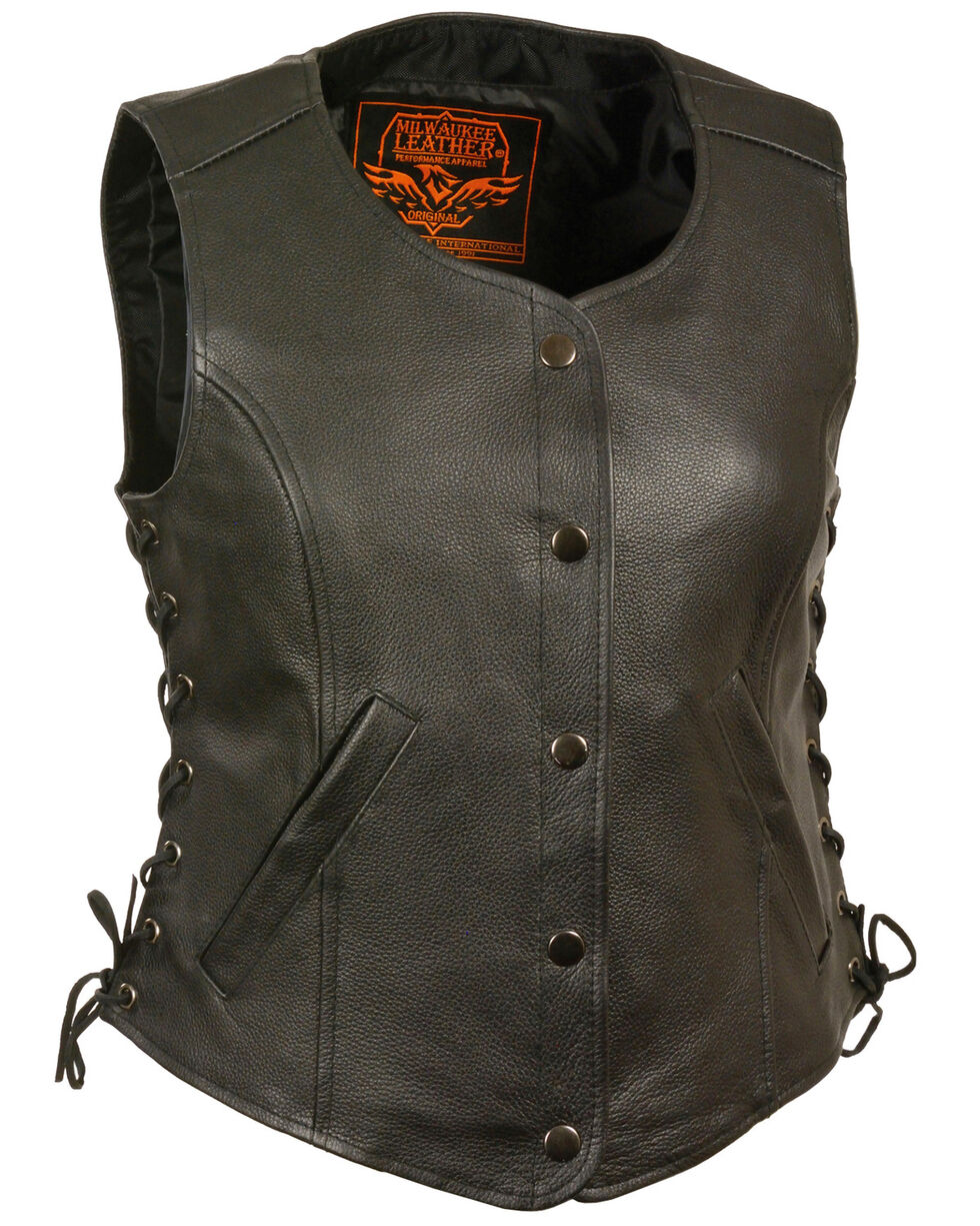 Milwaukee Leather Women's Side Lace Snap Front Vest - 5X, Black, hi-res