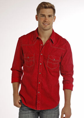 Rock & Roll Cowboy Men's Red Crinkle Wash Paisley Print Long Sleeve Shirt, Red, hi-res