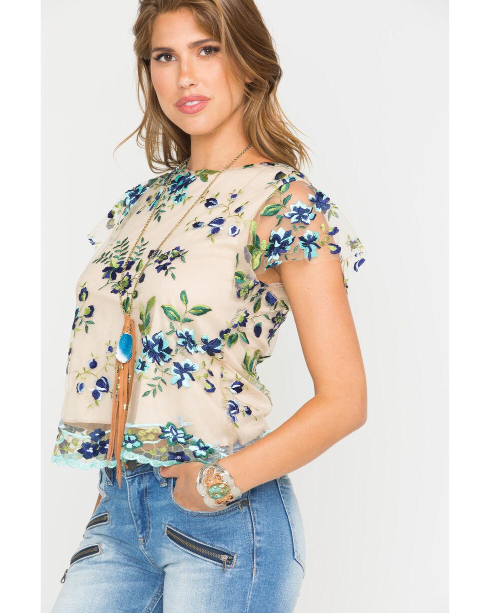 Panhandle Women's Flutter Sleeve Sheer Overlay Top, Tan, hi-res