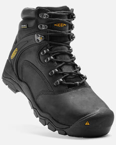 "Keen Men's Louisville 6"" Work Boots - Steel Toe, Black, hi-res"