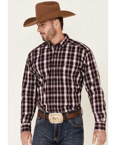 Ariat Men's Burgundy Ramon Plaid Long Sleeve Button Western Shirt - Big & Tall, Burgundy, hi-res