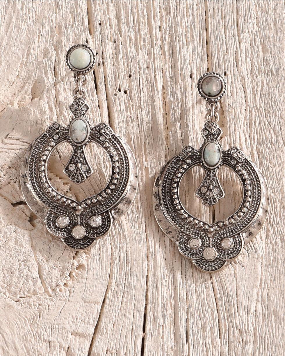 Shyanne Women's Jade Sea Cross Statement Earrings, Silver, hi-res