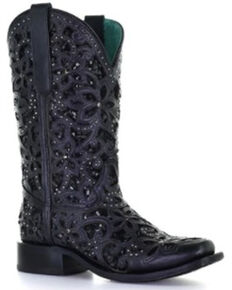 Corral Women's Black Inlay Embroidered & Stud Cowgirl Boots - Square Toe, Black, hi-res