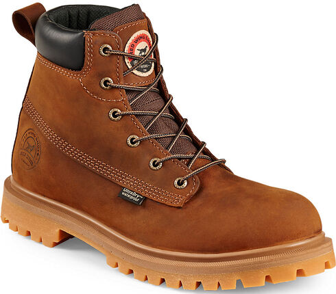 "Red Wing Irish Setter Hopkins 6"" Work Boots - Soft Round Toe , Brown, hi-res"