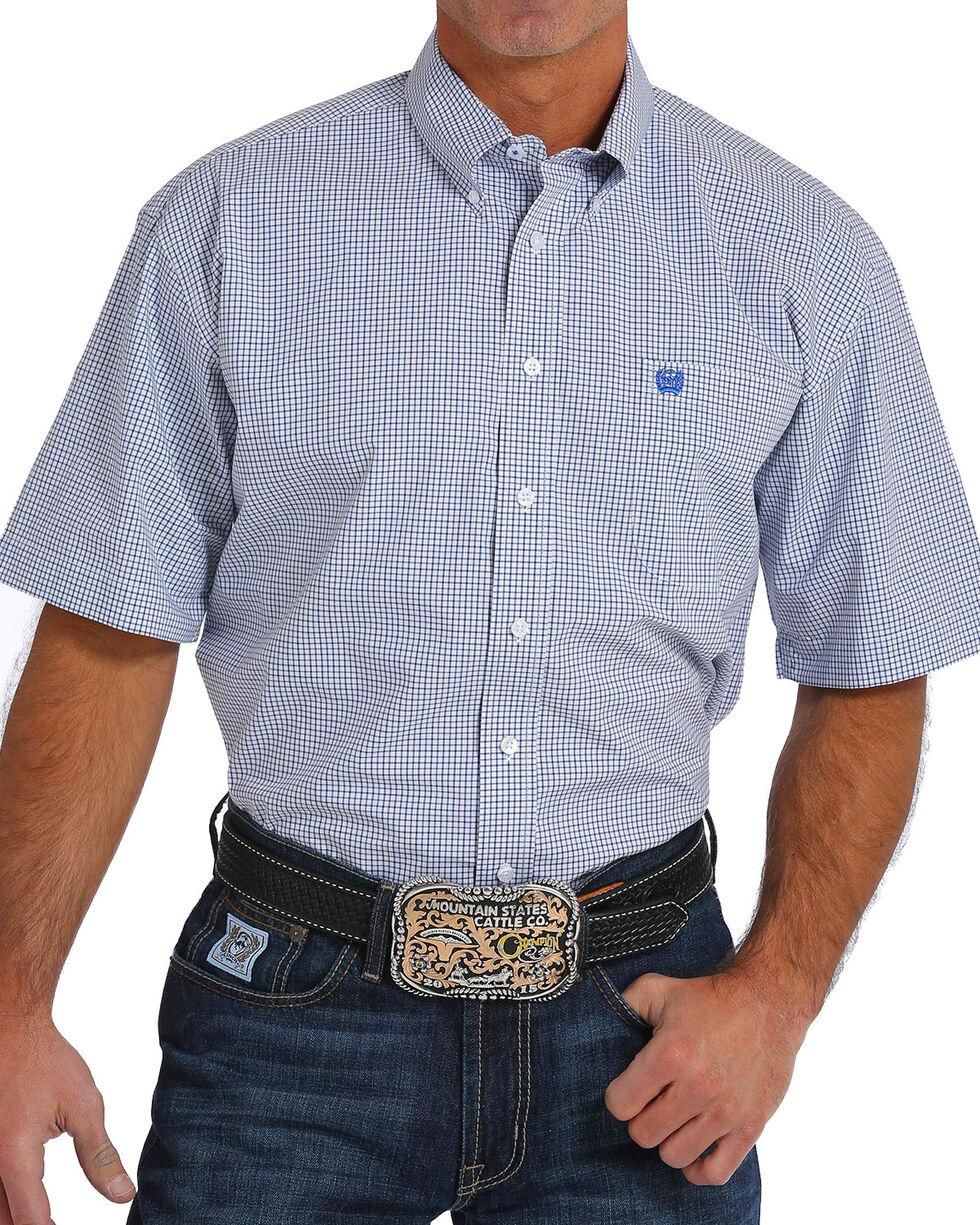 Cinch Men's Checkered Plaid Short Sleeve Button Down Shirt, White, hi-res