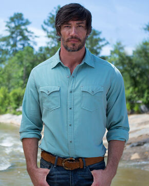 Ryan Michael Men's Tri Color Chevron Shirt , Light Green, hi-res