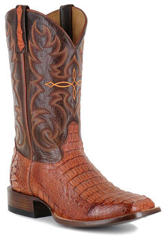 Cody James Men's Embroidered Caiman Exotic Boots - Square Toe, Brown, hi-res