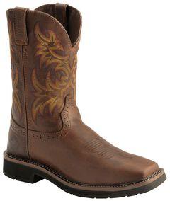 Justin Stampede Work Boots - Soft Square Toe, Tan, hi-res