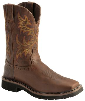 Justin Stampede Work Boots - Soft Square Toe, Tan, hi-res