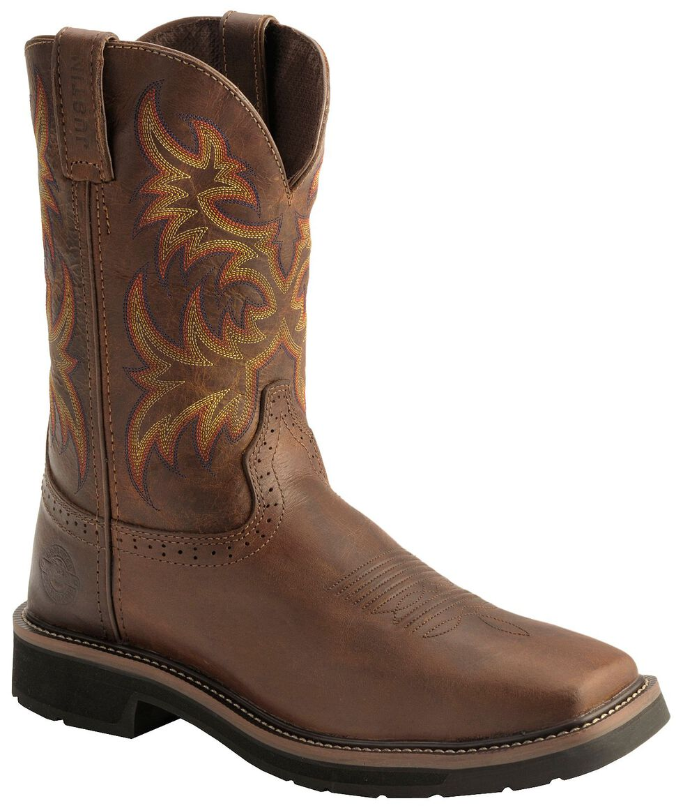 Justin Men's Stampede Driller Electrical Hazard Work Boots - Soft Toe, Tan, hi-res