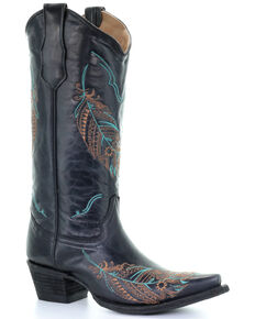 Circle G by Corral Women's Black Feather Embroidery Western Boots - Snip Toe, Black, hi-res