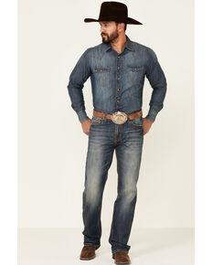Rock & Roll Denim Men's Double Barrel Dark Vintage Wash Stretch Relaxed Straight Jeans , Blue, hi-res