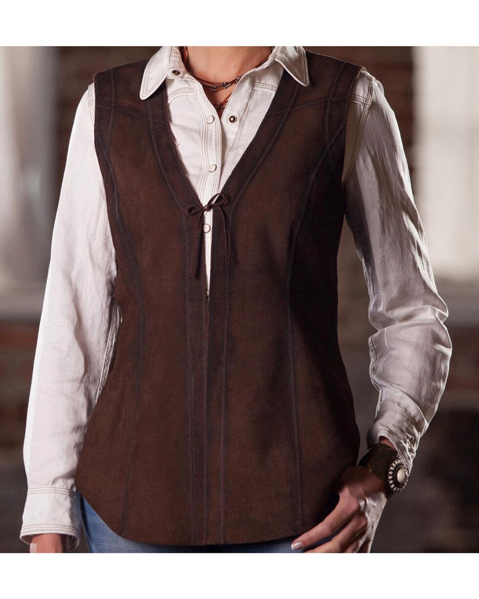 Ryan Michael Women's Chocolate Reversible Leather Vest , Chocolate, hi-res