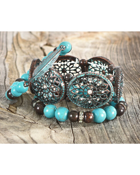 Shyanne Women's Odessa Beaded Stretch Bracelet Set , Turquoise, hi-res