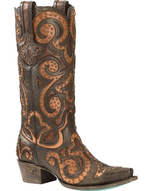Lane Paulina Scroll Cowgirl Boots - Snip Toe, Black, hi-res