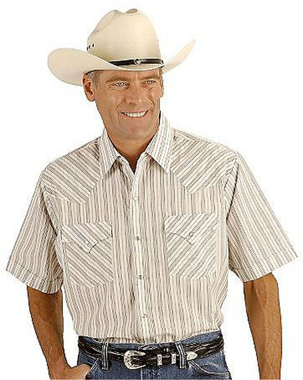 Ely Assorted Plaid or Stripe Short Sleeve Western Shirt, Stripe, hi-res