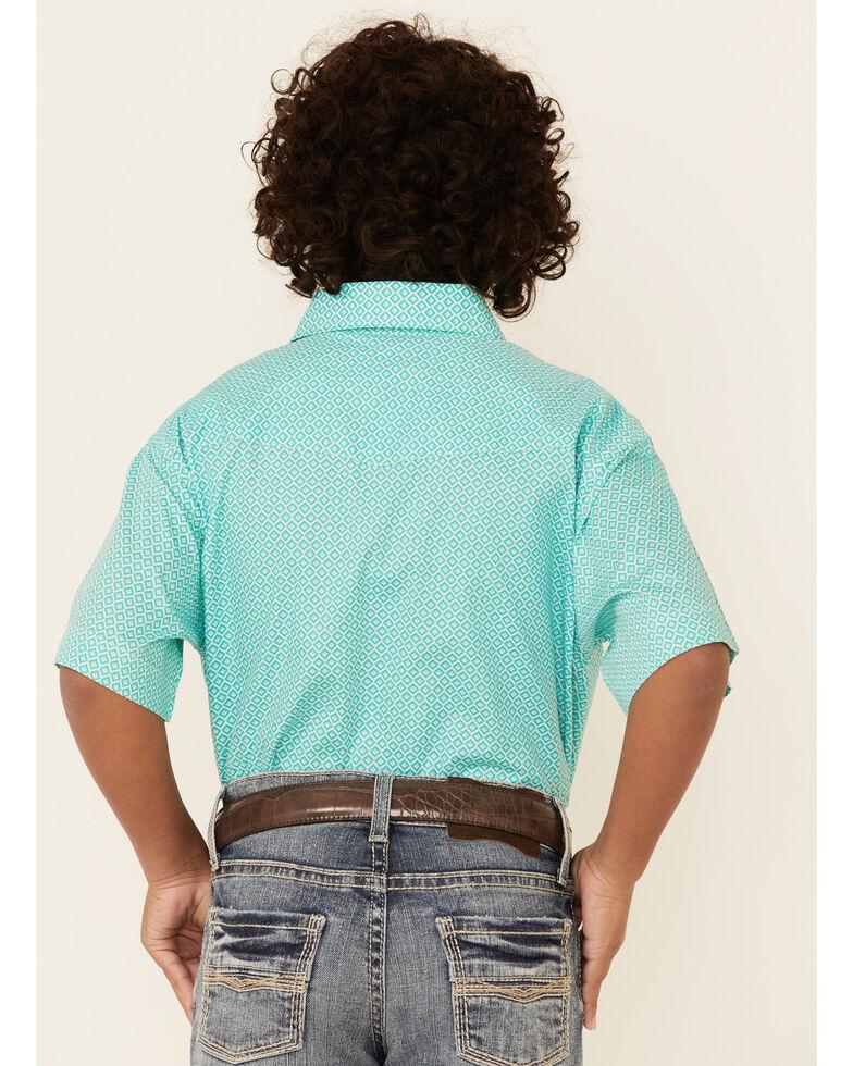 Panhandle Select Boys' Green Geo Print Short Sleeve Western Shirt , Green, hi-res