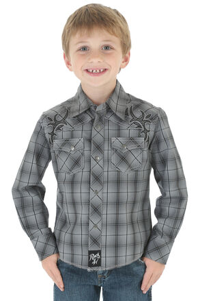 Wrangler Rock 47 Boys' Gray Plaid Snap Shirt, Grey, hi-res