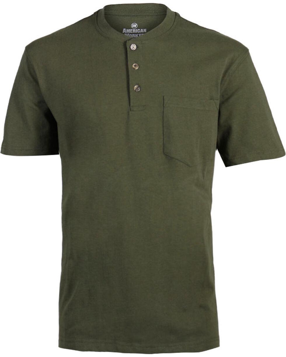 American Worker Men's Solid Short Sleeve Tee, Moss Green, hi-res