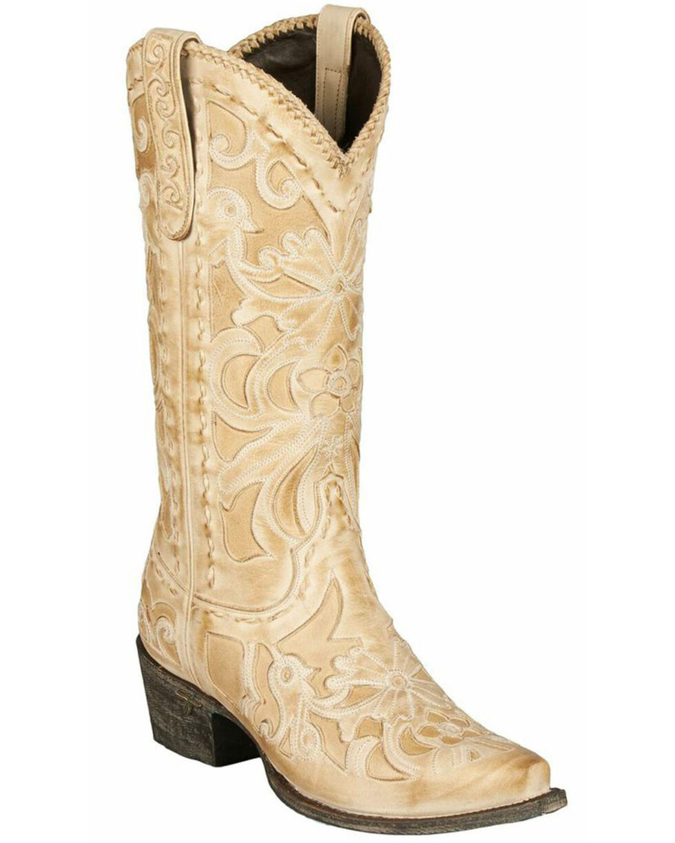 Lane Boots Robin Cowgirl Boot(Women's) -Cognac Full Grain Leather