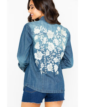 Stetson Women's Snap Front Floral Embroidered Denim Long Sleeve Top , Indigo, hi-res