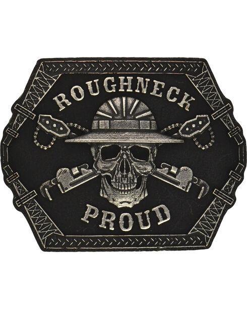 Montana Silversmiths Roughneck Proud Attitude Buckle, Antique Silver, hi-res