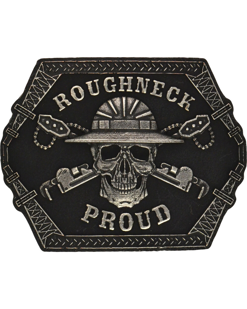 Montana Silversmiths Roughneck Proud Attitude Buckle, Antique Silver, hi-res
