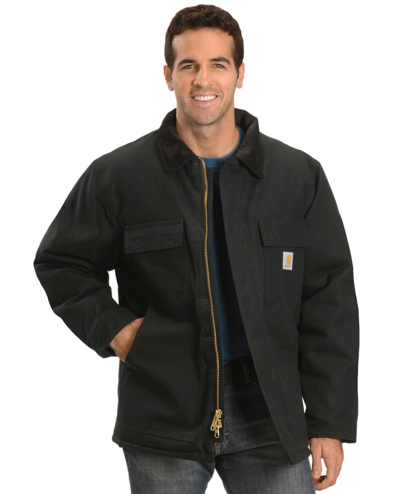 Carhartt Men's Arctic Quilt-Lined Duck Work Coat, Black, hi-res