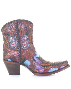 Corral Women's Honey Tooled Western Booties - Snip toe, Honey, hi-res