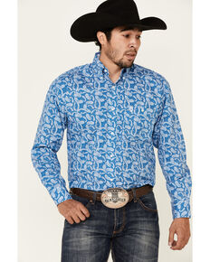 George Strait By Wrangler Men's Blue Paisley Print Long Sleeve Snap Western Shirt - Tall, Blue, hi-res