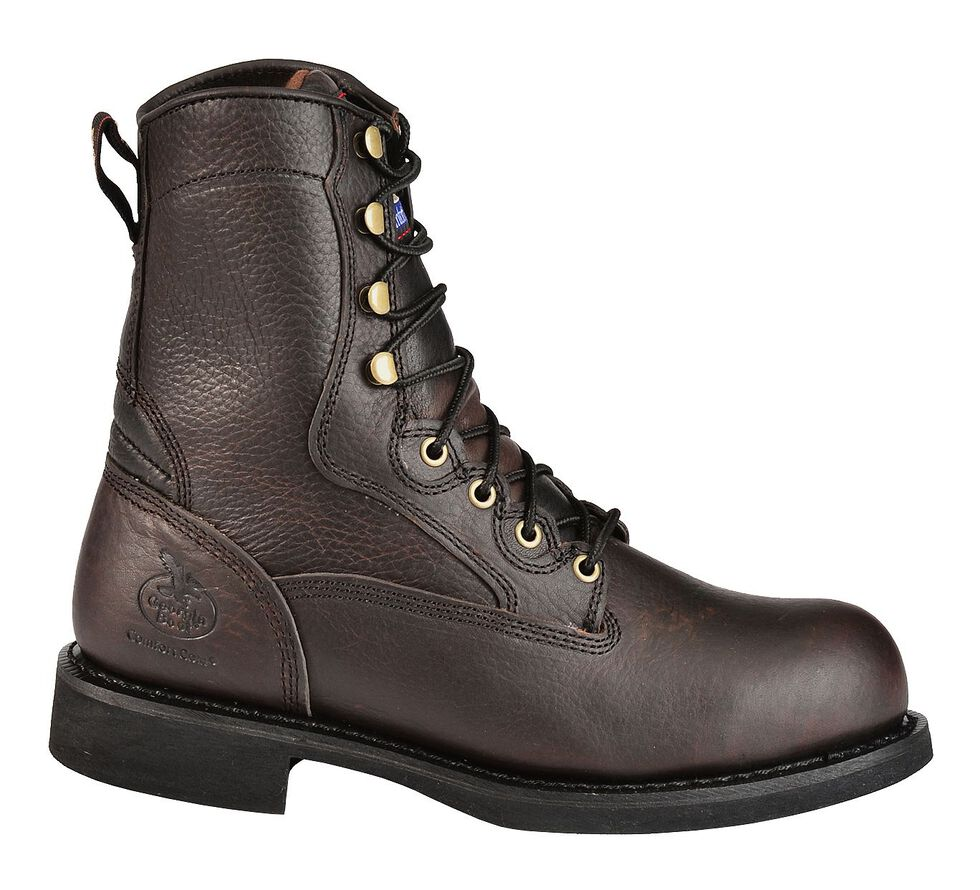 """Georgia Boot Carbo-Tec 8"""" Lace-Up Work Boots - Round Toe, , hi-res"""