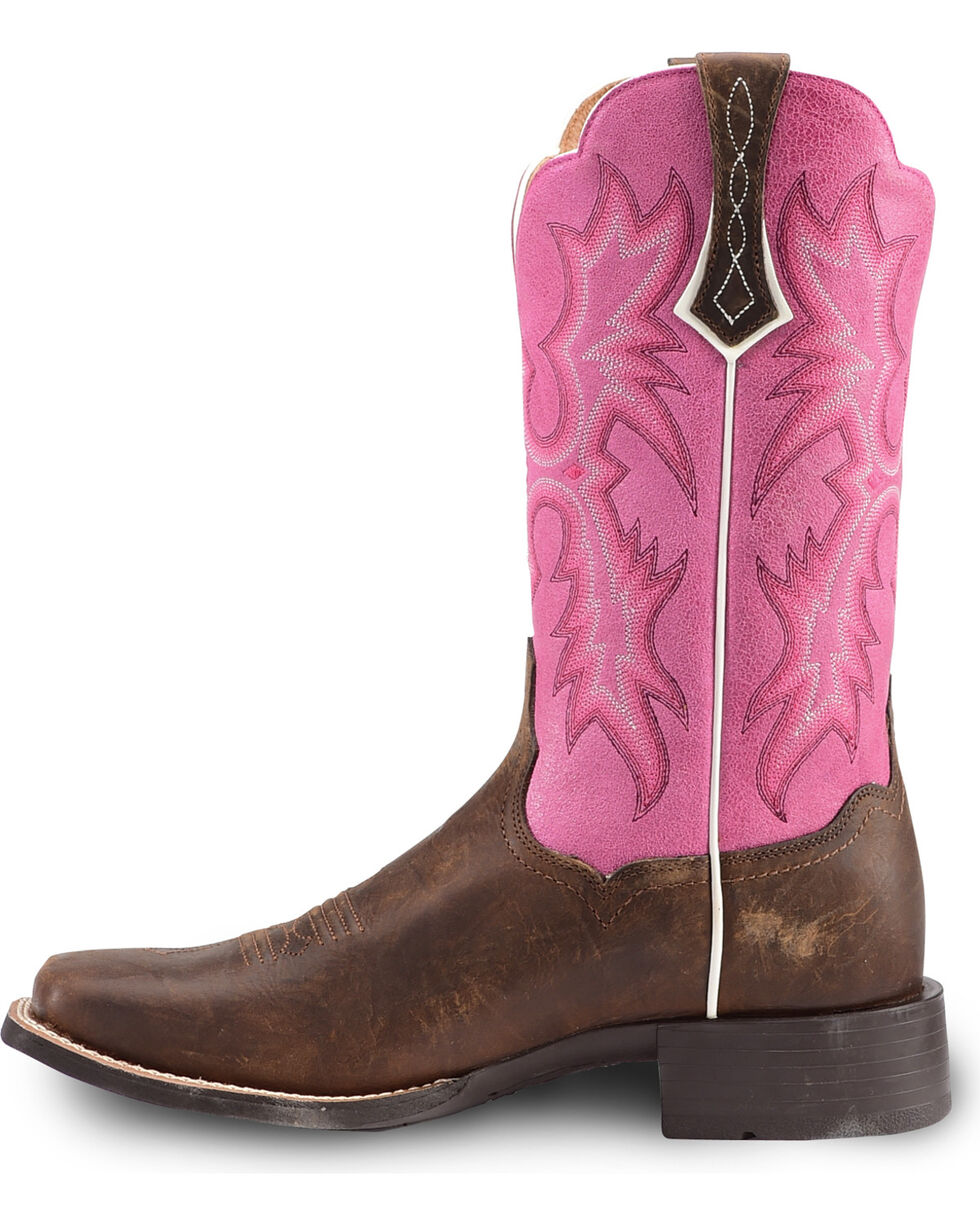 Ariat Women's Tombstone Passion Pink Western Boots - Square Toe, Brown/pink, hi-res
