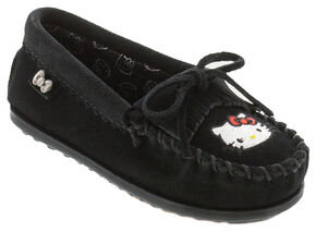Minnetonka Girls' Hello Kitty Moccasins, Black, hi-res