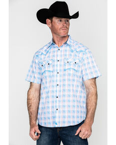 Cody James Men's Crooks Cross Plaid Short Sleeve Western Shirt - Tall , Turquoise, hi-res