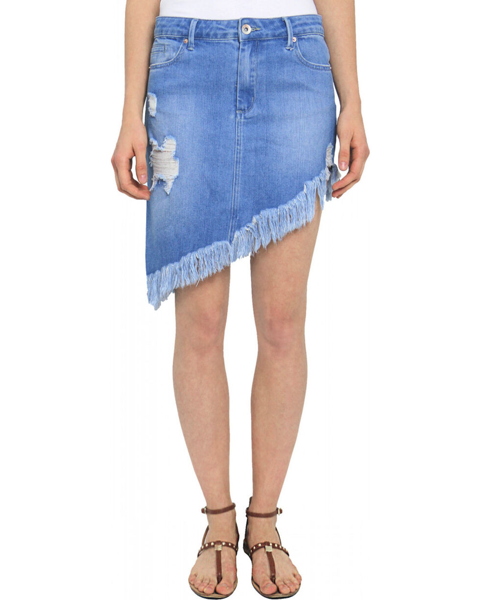 Tractr Blu Women's Indigo Asymmetrical Super Fray Skirt , Indigo, hi-res