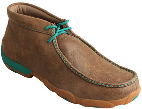 Twisted X Men's Brown & Lush Green Driving Mocs , Brown, hi-res