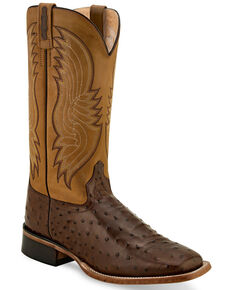 Old West Men's Faux Ostrich Western Boots - Wide Ssquare Toe, Tan, hi-res