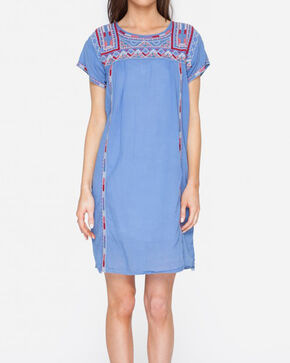 Johnny Was Women's Willow Pleated Peasant Long Tunic Dress , Blue, hi-res