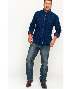 Wrangler Men's Blue Retro Premium Long Sleeve Shirt , Blue, hi-res