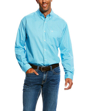 Ariat Men's Molson Stretch Geo Print Long Sleeve Western Shirt - Big & Tall , Blue, hi-res
