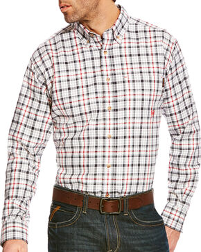 Ariat Men's Briggs Grey Multi FR Plaid Button Work Shirt, Grey, hi-res
