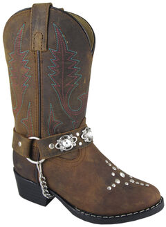 Smoky Mountain Girls' Starlight Western Boots - Round Toe, Brown, hi-res
